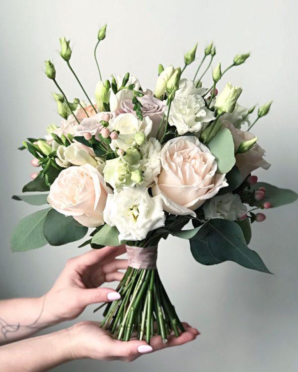 свадебный букет пастельных тонов